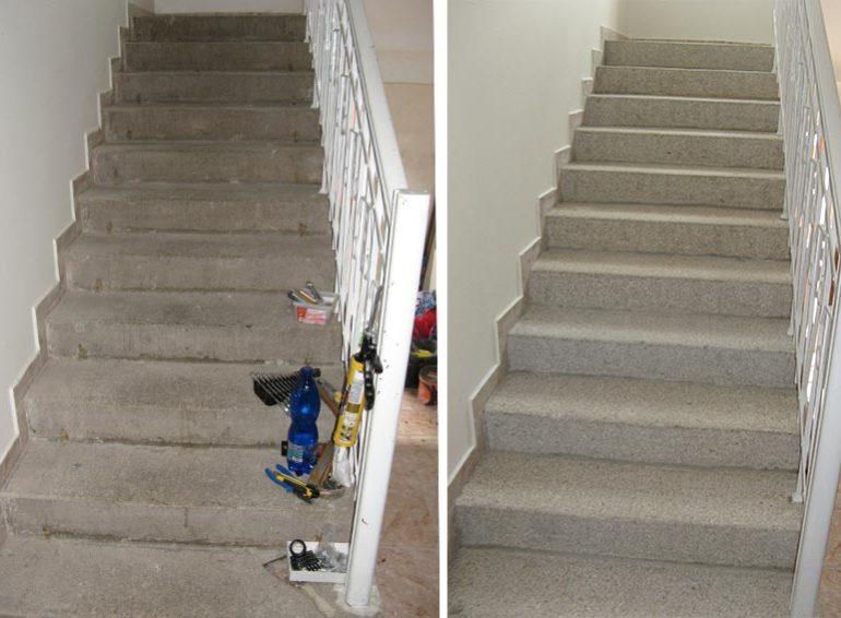 renovace, rekonstrukce, oprava, obnova, čištění schodů